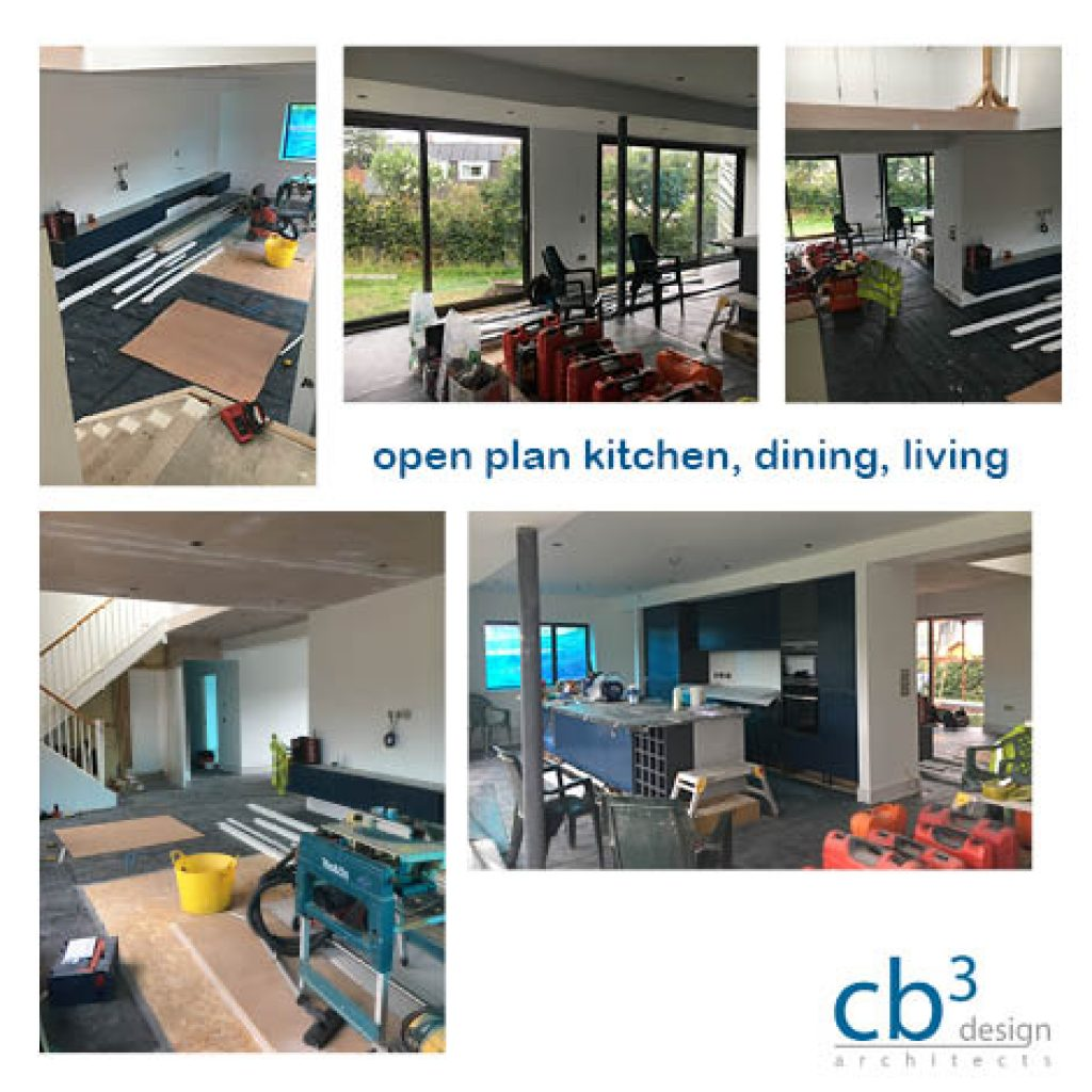 site progress photos of  open plan kitchen, living and dining