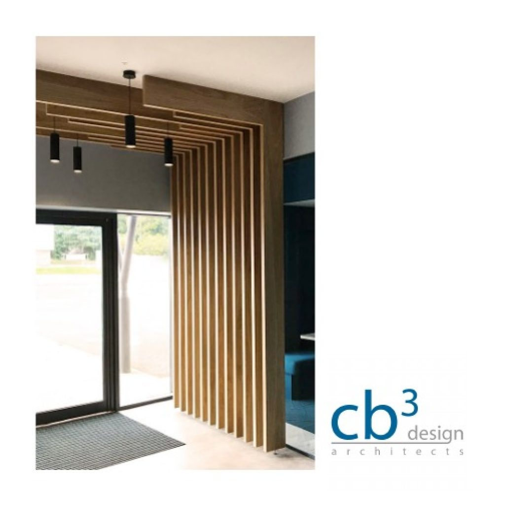 reception complete with entrance area timber slatted canopy with pendant lights