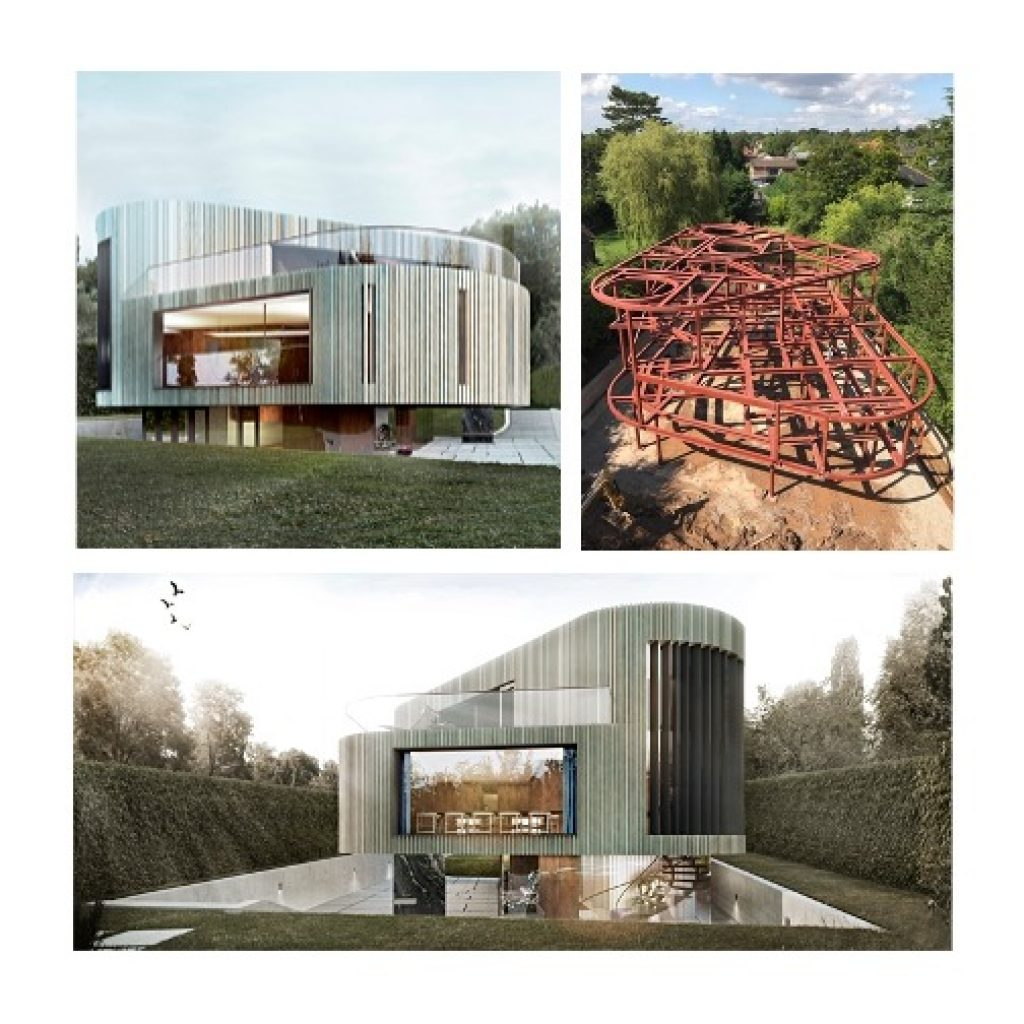 computer renderings of custom new build house and image of the complicated steel frame