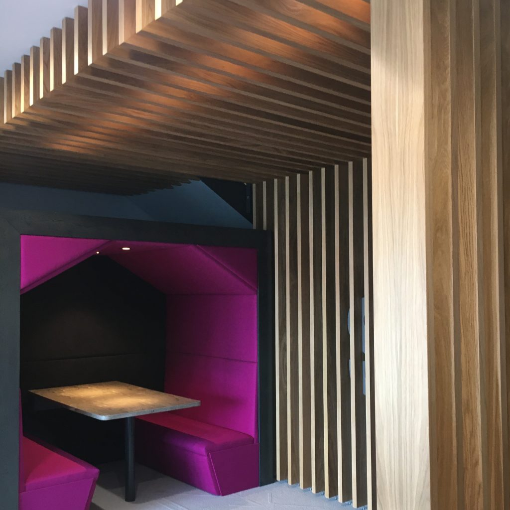booth seating and slatted timber in office reception fitout