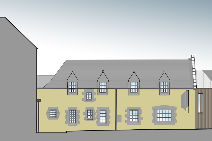 Coloured architectural elevation showing slate roof and render