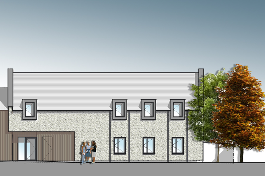 Coloured elevation of school boarding accommodation extension to Listed Building, East Lothian
