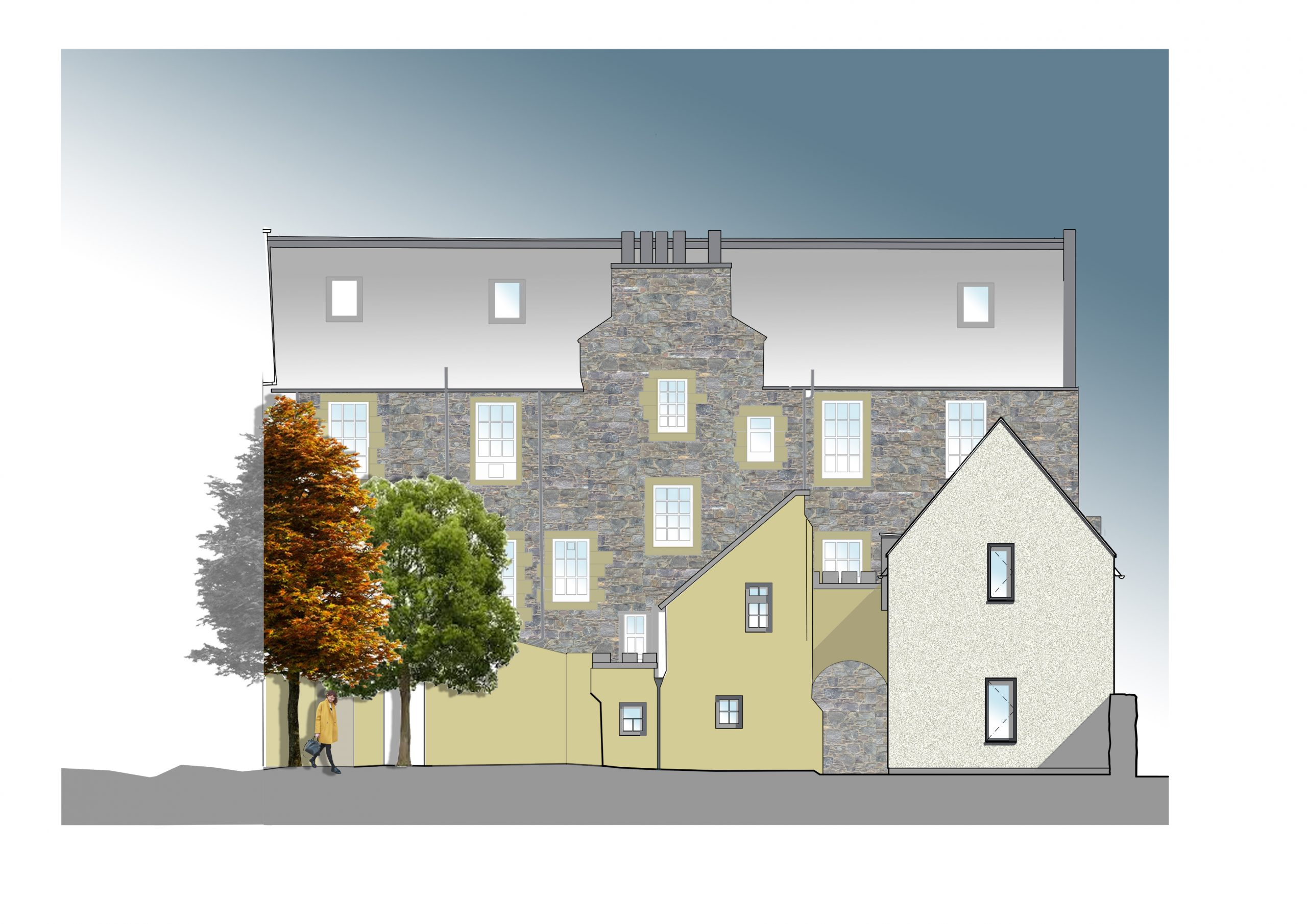 rear elevation showing litsted buildings and new extension, stone, render, aluminium windows, East Lothian boarding school
