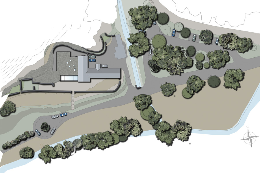 coloured site plan of refurbished croft house with underground glass extension with new parking spaces in trees