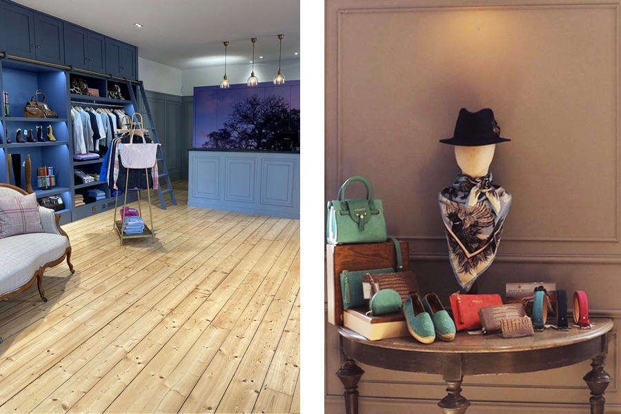 retil interiors showing bespoke joinery point of sale and storage wall with digital wallpaper. Shop displays for upmarket ladies wear store A Hume Kelso