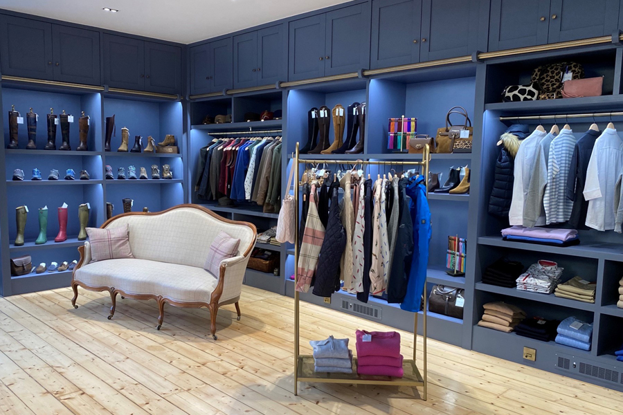 upmarket ladieswear shop refit with bespoke displays, ornate furniture and concealed storage, A.Hume Kelso, Scottish Borders