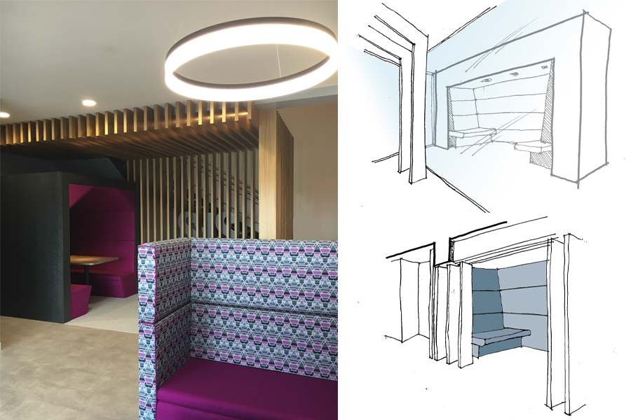 Office reception redesign interiors hand sketches fo meeting room and hot desk