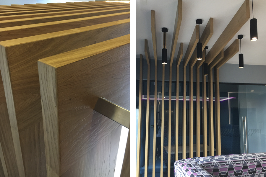 detail of timber slatted canopy, office refit, interior design, Musselburgh East Lothian, cb3 design interiors