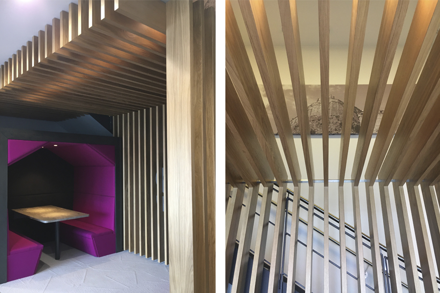 timber canopy interior design, booth seating touchdown work space, Musselburgh SJS property services