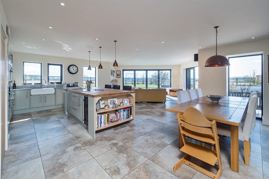 open plan kitchen dining room with kitchen island, pendant lights, living room and garden access, Tower Lane, Lymm village, Cheshire, cb3 design