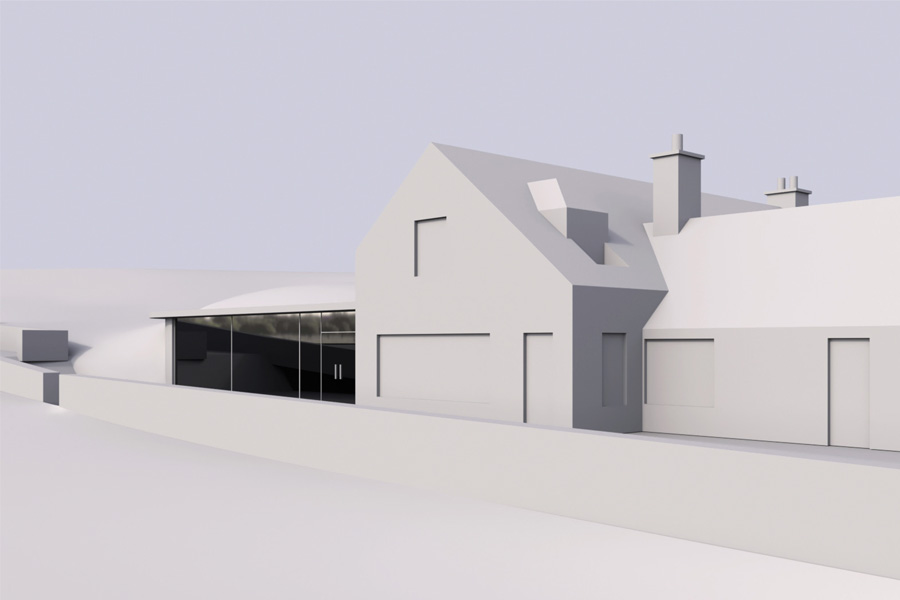 computer model of Scottish Borders wedding venue extension showing framelss glass front elevation and landscape wrapping over roof