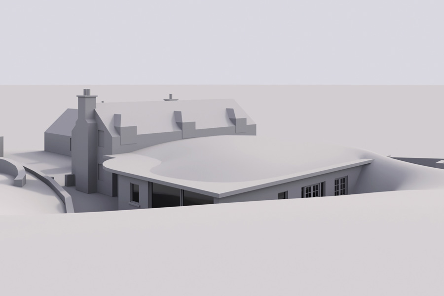 Computer model, rear view of single storey, part buried, extension to hunting lodge, Scottish borders, Selkirk