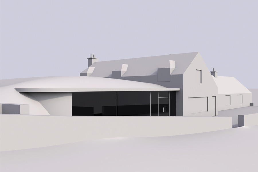front view of 3d model of extension to refurbished croft house showing frameless glass wall