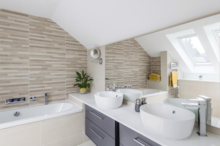 matt grey bathroom with double sinks, mirrored wall and stone tiling, peebles, Scottish borders bathrooms