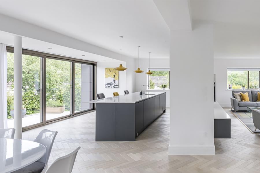 open plan kitchen dining living panorama