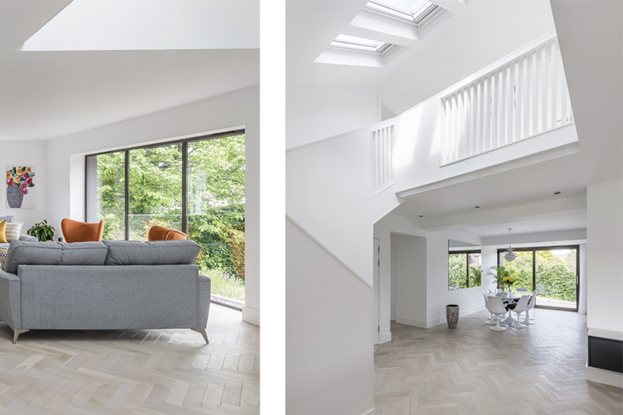open stairwell looking up to 1st floor landing with rooflights adn view to ground floor dining room, open plan living,