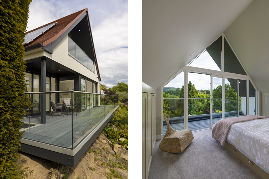 internal end external views of a glazed gable wall to a master bedroom, with balcony and centieleverd deck at ground floor level, edinburgh
